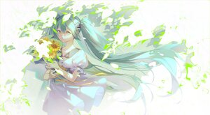 Rating: Safe Score: 10 Tags: dress flowers green_eyes hatsune_miku long_hair twintails vocaloid User: Maboroshi