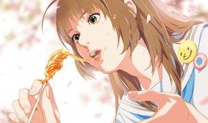 Rating: Safe Score: 78 Tags: brown_hair food long_hair original petals school_uniform spring taku yellow_eyes User: otaku_emmy
