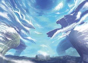Rating: Safe Score: 100 Tags: city clouds kajipon monolithsoft nintendo parody pokemon reshiram sky water xenoblade zekrom User: SonicBlue