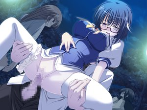 Rating: Explicit Score: 65 Tags: blue_hair blush censored game_cg glasses kotou_tsukasa night penis seifuku sex short_hair soushinjutsu_rei vagina User: Wiresetc