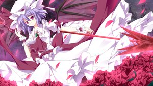 Rating: Safe Score: 70 Tags: dress flowers hat kurono_yuzuko petals purple_eyes remilia_scarlet touhou weapon wings User: opai