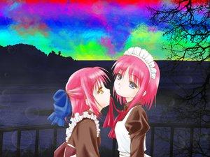 Rating: Safe Score: 36 Tags: blue_eyes bow headdress hisui kohaku maid pink_hair ribbons shingetsutan_tsukihime short_hair shoujo_ai twins yellow_eyes User: Oyashiro-sama