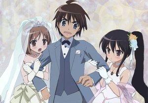 Rating: Safe Score: 15 Tags: black_hair blue_eyes blush brown_eyes brown_hair gloves sakai_yuuji shakugan_no_shana shana wedding wedding_attire yoshida_kazumi User: Oyashiro-sama