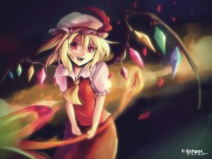 Rating: Safe Score: 105 Tags: blonde_hair clear_echoes fang flandre_scarlet hat red_eyes short_hair signed touhou vampire weapon wings User: ANIMEHTF