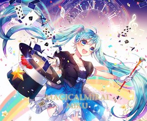 Rating: Safe Score: 20 Tags: aqua_eyes aqua_hair dress flowers gloves hat hatsune_miku long_hair magical_mirai_(vocaloid) tagme_(artist) twintails vocaloid wand User: RyuZU