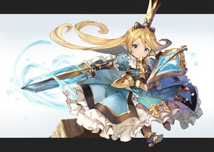 Rating: Safe Score: 60 Tags: armor blonde_hair blue_eyes boots charlotta_(granblue_fantasy) dress granblue_fantasy loli long_hair pointed_ears shirabi_(life-is-free) sword weapon User: luckyluna