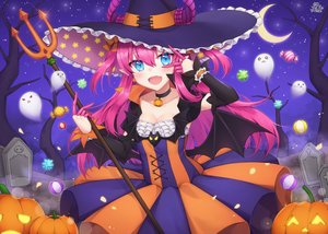 Rating: Safe Score: 44 Tags: aqua_eyes blush breasts candy choker cleavage dress elizabeth_bathory_(fate) fang fate/grand_order fate_(series) halloween hat horns long_hair moon night pink_hair pointed_ears pong_(vndn124) pumpkin signed sky stars tree twintails weapon wings witch_hat User: luckyluna