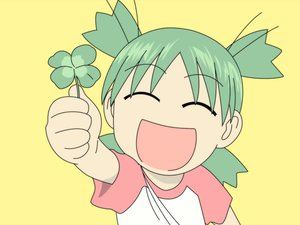Rating: Safe Score: 9 Tags: green_hair koiwai_yotsuba short_hair yellow yotsubato! User: Oyashiro-sama