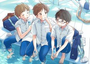 Rating: Safe Score: 10 Tags: all_male barefoot brown_eyes brown_hair drink glasses kana_(okitasougo222) male original short_hair water User: otaku_emmy