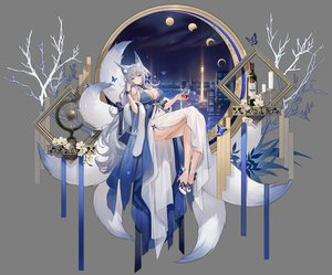 Rating: Safe Score: 71 Tags: animal_ears azur_lane blue_eyes blush breasts building butterfly city cleavage dress drink flowers foxgirl gray_hair long_hair moon multiple_tails night shinano_(azur_lane) sky soaryuna tail transparent User: BattlequeenYume