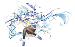 Rating: Safe Score: 10 Tags: aliasing animal aqua_eyes aqua_hair blush boots gloves hat hatsune_miku long_hair pantyhose rabbit ribbons skirt tagme_(artist) twintails vocaloid wand white witch_hat yuki_miku User: luckyluna