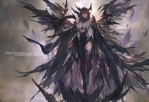 Rating: Safe Score: 175 Tags: breasts brown_hair dragon elbow_gloves gloves horns long_hair original pixiv_fantasia purple_eyes swd3e2 thighhighs watermark wings User: RyuZU