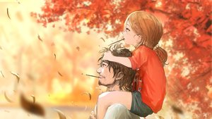 Rating: Safe Score: 51 Tags: autumn blush brown_eyes brown_hair food leaves loli male original petals pocky short_hair signed tree you_(shimizu) User: RyuZU
