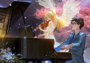 Rating: Safe Score: 101 Tags: arima_kousei blonde_hair bow brown_hair crying dress feathers flowers glasses instrument long_hair male miyazono_kaori petals piano qmo_(chalsoma) shigatsu_wa_kimi_no_uso short_hair signed suit tears tie violin wings User: Flandre93
