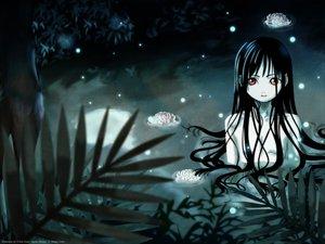 Rating: Safe Score: 41 Tags: black_hair enma_ai flat_chest flowers jigoku_shoujo long_hair nude pink_eyes red_eyes tree water wet User: Oyashiro-sama