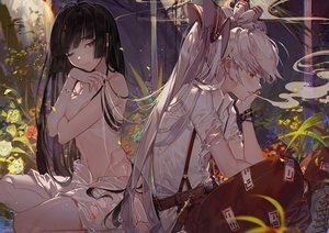 Rating: Questionable Score: 142 Tags: 2girls black_hair blush boots breast_hold breasts brown_eyes chain cigarette forest fujiwara_no_mokou houraisan_kaguya kawacy long_hair nude ponytail red_eyes smoking torn_clothes touhou tree watermark wet white_hair User: luckyluna