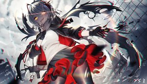 Rating: Safe Score: 132 Tags: arknights bai_yemeng clouds gray_hair gun headphones pantyhose ponytail ruins scarf signed skirt sky w_(arknights) weapon yellow_eyes User: BattlequeenYume