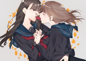 Rating: Safe Score: 32 Tags: 2girls brown_eyes brown_hair cherry food fruit hug long_hair original seifuku shoujo_ai sino42 skirt User: RyuZU