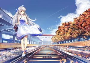 Rating: Safe Score: 102 Tags: animal anthropomorphism autumn bird braids china_railway_girl clouds dress erich gray_hair leaves lianxue_yin long_hair sky User: RyuZU