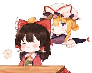 Rating: Safe Score: 33 Tags: 2girls blonde_hair blush brown_hair drink food fruit hakurei_reimu hat kotatsu orange_(fruit) purple_eyes touhou useq1067 white yakumo_yukari User: RyuZU