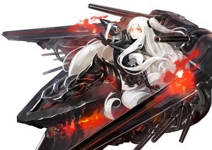Rating: Safe Score: 61 Tags: aircraft_carrier_oni fire kantai_collection long_hair orange_eyes pump_(artist) white_hair User: Flandre93
