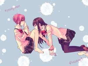 Rating: Safe Score: 30 Tags: 2girls akemi_homura barefoot kaname_madoka kiss mahou_shoujo_madoka_magica mizuki_(flowerlanguage) school_uniform shoujo_ai User: FormX