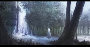 Rating: Safe Score: 33 Tags: forest lanreta original polychromatic scenic tree water waterfall white_hair User: ripah