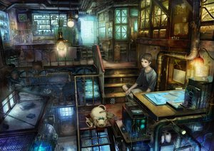 Rating: Safe Score: 278 Tags: all_male animal book brown_eyes brown_hair cage cat computer fan industrial male munashichi realistic scenic short_hair stairs User: HawthorneKitty