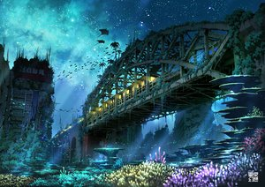 Rating: Safe Score: 220 Tags: animal city fish landscape night original ruins scenic sky stars tokyogenso train underwater water User: STORM