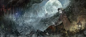 Rating: Safe Score: 170 Tags: alcd blood bloodborne cape doll flowers gray_hair hat landscape leaves male moon night polychromatic scenic skull the_doll the_hunter tree User: Flandre93
