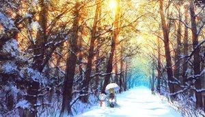 Rating: Safe Score: 234 Tags: blonde_hair long_hair madcocoon ribbons scenic snow snowman touhou tree umbrella yakumo_yukari User: Flandre93