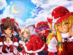 Rating: Questionable Score: 21 Tags: christmas hakurei_reimu izayoi_sakuya kirisame_marisa remilia_scarlet snow touhou wings User: 秀悟