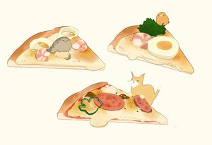 Rating: Safe Score: 14 Tags: animal bird cat chai_(artist) food nobody original pizza signed User: otaku_emmy
