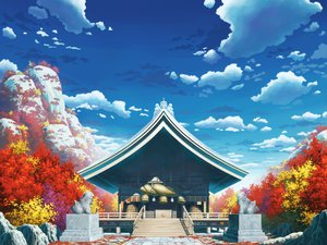 Rating: Safe Score: 75 Tags: aoha_(twintail) autumn clouds scenic sky stairs touhou tree User: SonicBlue