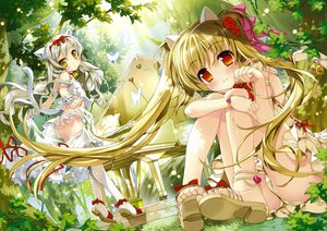 Rating: Questionable Score: 202 Tags: 2girls animal_ears bell blonde_hair blush bow brown_eyes butterfly catgirl flowers fujima_takuya gray_hair instrument original panties piano ribbons tail thighhighs twintails underwear yellow_eyes User: Wiresetc