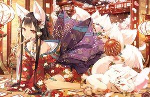 Rating: Safe Score: 64 Tags: animal_ears cura foxgirl japanese_clothes jpeg_artifacts sarashi tail User: RyuZU