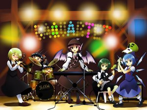 Rating: Safe Score: 15 Tags: animal_ears blonde_hair blue_eyes blue_hair brown_eyes cirno green_eyes green_hair guitar hakurei_reimu hat instrument kirisame_marisa mystia_lorelei purple_eyes purple_hair ribbons rumia touhou wings wriggle_nightbug yukkuri_shiteitte_ne User: w7382001