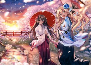Rating: Safe Score: 98 Tags: 2girls blonde_hair brown_hair cherry_blossoms clouds green_eyes japanese_clothes kimono original petals piromizu purple_eyes scan sunset User: mattiasc02
