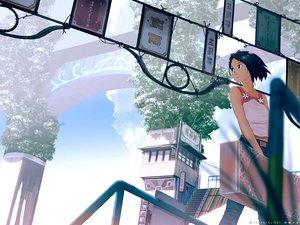 Rating: Safe Score: 35 Tags: bow clouds original scenic short_hair sky teikoku_shounen User: Oyashiro-sama