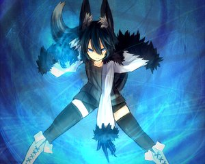 Rating: Safe Score: 183 Tags: animal_ears black_hair blue_eyes foxgirl nanako_(shiroganeusagi) original shiroganeusagi short_hair tail thighhighs User: Wiresetc