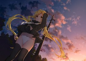 Rating: Safe Score: 35 Tags: anthropomorphism blonde_hair clouds daitai_sotogawa_(futomomo) kantai_collection long_hair panties satsuki_(kancolle) seifuku skirt skirt_lift sky sunset thighhighs underwear yellow_eyes User: RyuZU