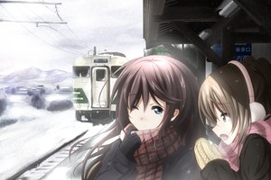 Rating: Safe Score: 122 Tags: blue_eyes brown_eyes brown_hair long_hair original scarf snow suemizu_yuzuki User: Maboroshi