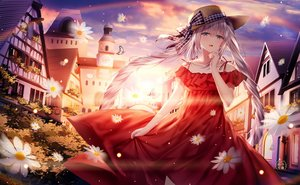 Rating: Safe Score: 127 Tags: blue_eyes building butterfly dress fate/grand_order fate_(series) flowers gray_eyes hat junpaku_karen long_hair marie_antoinette_(fate/grand_order) sunset twintails User: Nepcoheart