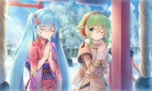 Rating: Safe Score: 51 Tags: 2girls aqua_hair green_hair gumi hatsune_miku japanese_clothes kimono long_hair sakakidani short_hair shrine vocaloid User: sadodere-chan