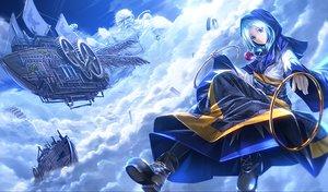 Rating: Safe Score: 171 Tags: aliasing aqua_eyes aqua_hair blue boat boots clouds hoodie kumoi_ichirin ryosios sky touhou unzan User: Flandre93
