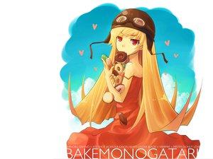 Rating: Safe Score: 44 Tags: bakemonogatari blonde_hair clouds dress fang food goggles hat heart long_hair monogatari_(series) oshino_shinobu red_eyes sky summer_dress white User: w7382001
