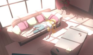 Rating: Safe Score: 32 Tags: barefoot blonde_hair book couch drink gabriel_dropout gabriel_white_tenma game_console konoescaper long_hair signed sleeping User: BattlequeenYume