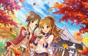 Rating: Safe Score: 37 Tags: 2girls annin_doufu autumn bow brown_eyes brown_hair building camera cat_smile clouds green_eyes hino_akane_(idolmaster) idolmaster idolmaster_cinderella_girls idolmaster_cinderella_girls_starlight_stage leaves long_hair ponytail short_hair shrine sky stairs takamori_aiko User: RyuZU