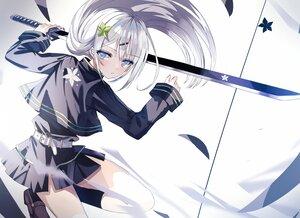 Rating: Safe Score: 40 Tags: beckzawachi blue_eyes gray_hair katana kneehighs long_hair original polychromatic skirt sword uniform weapon User: BattlequeenYume