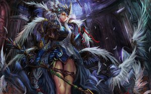 Rating: Safe Score: 123 Tags: armor edenfox feathers gray_hair green_eyes long_hair tagme_(character) weapon wings User: Dragoonxxx